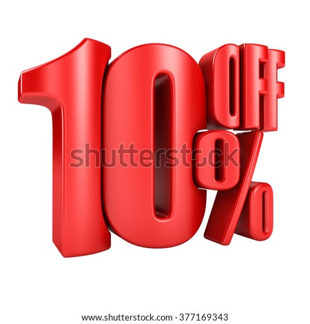 10 percent off in red letters 3d render on a white background. - stock photo