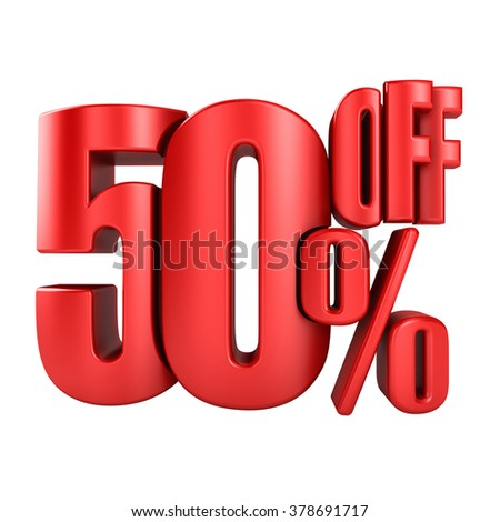 50 percent off in red letters 3d render on a white background. - stock photo
