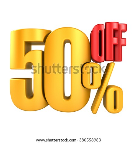 50 percent off in yellow letters 3d render on a white background. - stock photo