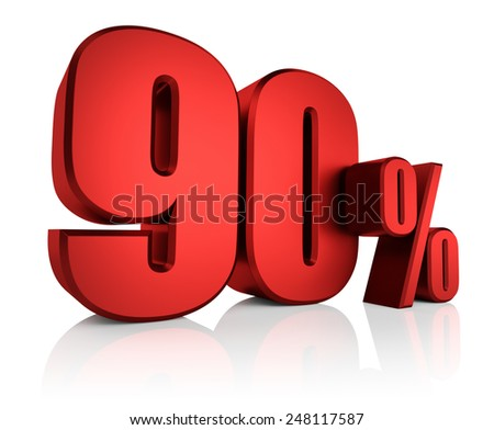 90 percent off on white background. 3d render red discount - stock photo