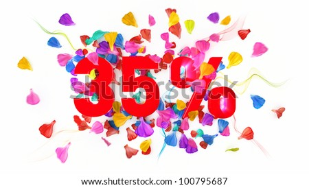 35 percent off on white isolated background full with colored petals - stock photo