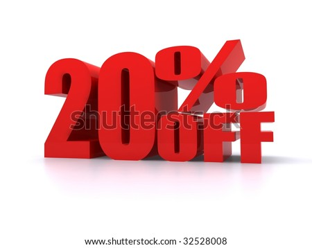 20% Percent off promotional sign - stock photo