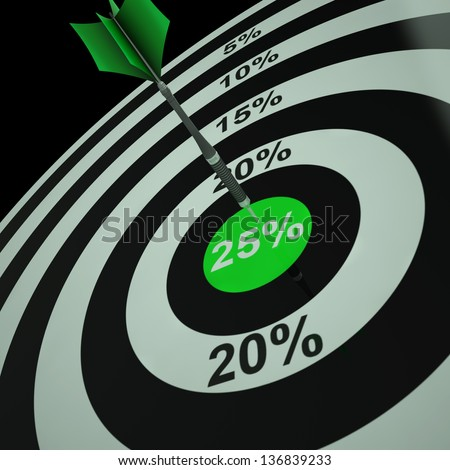 25 Percent On Dartboard Shows Aimed Markdowns And Bargains - stock photo