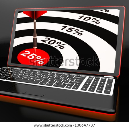 25 Percent On Laptop Shows Promotional Prices And Sales - stock photo
