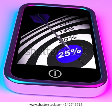 25 Percent On Smartphone Shows Special Sales And Promotions - stock photo