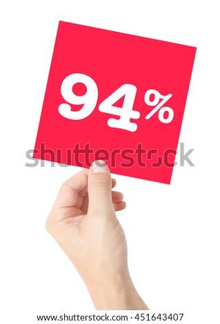 94 percent on white - stock photo