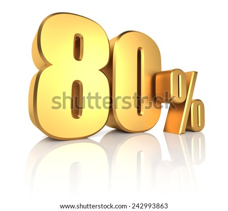 80 percent on white background. 3d render gold metal discount - stock photo