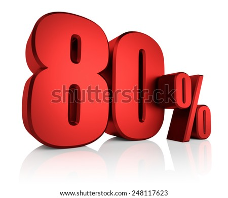 80 percent on white background. 3d render red discount - stock photo