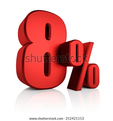 8 percent on white background. 3d render red discount - stock photo