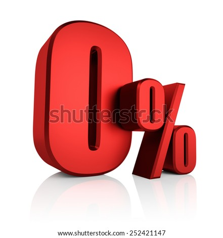 0 percent on white background. 3d rendering red discount - stock photo