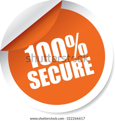 100 Percent Orange Black Modern Labels And Stickers. Protected Against Attack. - stock photo