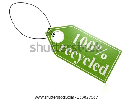 100 percent recycled tag - stock photo