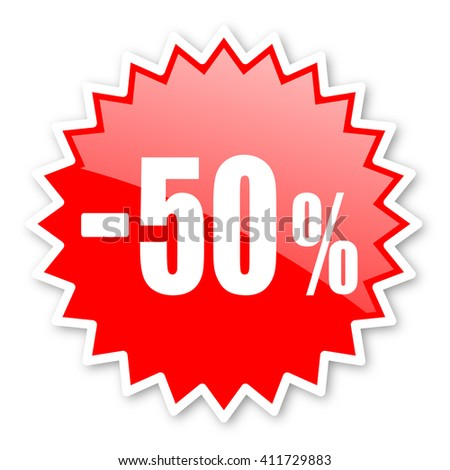 50 percent sale retail red tag, sticker, label, star, stamp, banner, advertising, badge, emblem, web icon - stock photo
