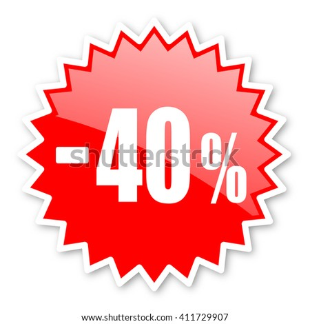 40 percent sale retail red tag, sticker, label, star, stamp, banner, advertising, badge, emblem, web icon - stock photo