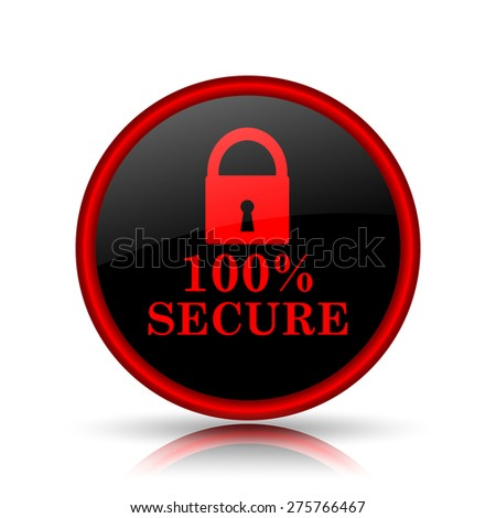100 percent secure icon. Internet button on white background.  - stock photo