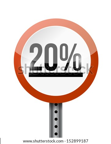 20 percentage road sign illustration design over a white background - stock photo