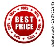 100 percentages best price - 3d red white circle label with text, business concept - stock photo