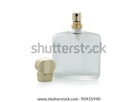 perfume bottle is pretty small isolated on white background - stock photo