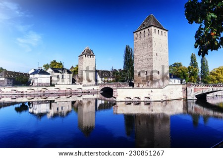"""""""Petite France"""" area in old Strasbourg at sunny autumn day. Alsace, France - stock photo"""