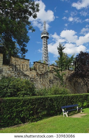 """""""Petrin"""" tower with wall - stock photo"""