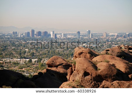 Phoenix skyline: view from Camelback Mountain - stock photo