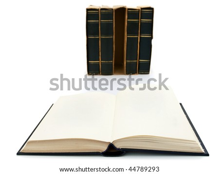 Photo of open book at white background - stock photo