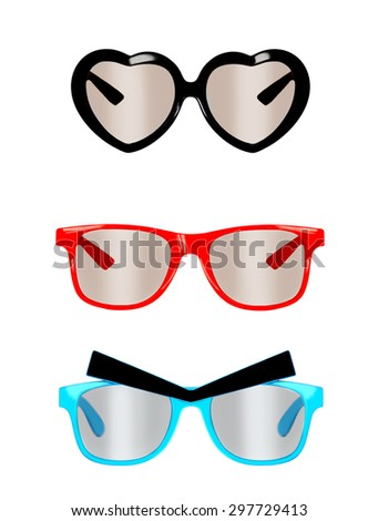 Photo of red and blue nerd glasses ,black heart shaped sunglasses, isolated on white - stock photo
