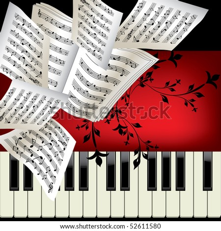 Piano vector background with notes - stock photo