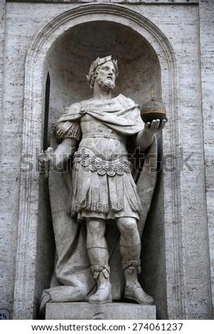 Piazza San Luigi de' Francesi - statue di Carlo Magno in Rome, Italy - stock photo