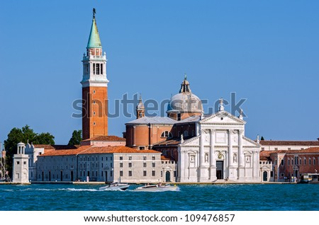 Piazza San Marco with the Cathedral of San Giorgio Maggiore in the background, Venice, Italy - stock photo