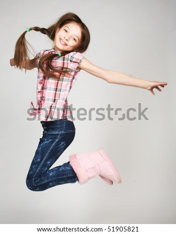 Picture of a funny little girl - stock photo