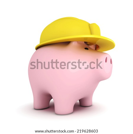 Piggy bank with hardhat on white background - stock photo