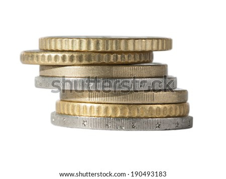 pile of gold and silver coins euro - stock photo