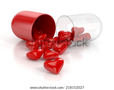 pill with hearts isolated. 3d illustration - stock photo