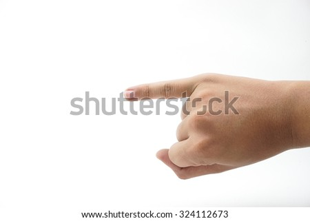 Pinkie swear on white background - stock photo