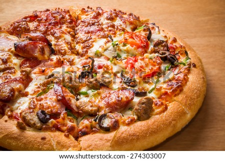 pizza grain of wood of bacon and the cheese - stock photo