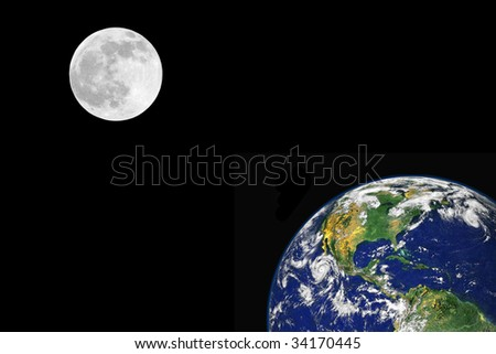 Planet earth featuring the north american continent and a full moon on the spring equinox, over black background. - stock photo