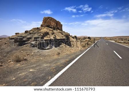Plano de El Mojon, rock formations near Teguise, Lanzarote, Canary Islands, Spain - stock photo