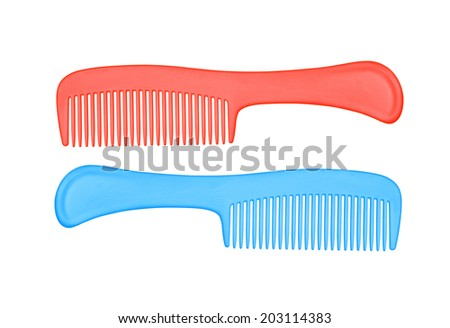 plastic comb  isolated on white - stock photo