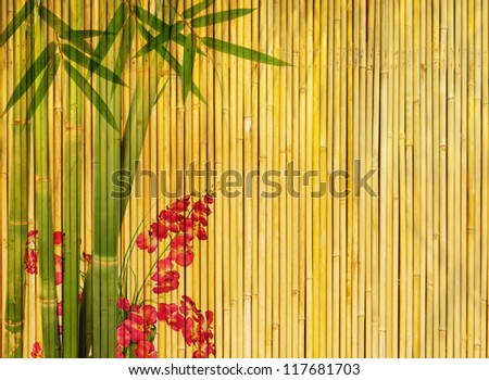 plum blossom and bamboo on old antique texture - stock photo