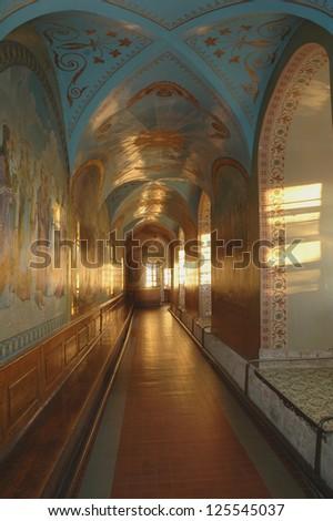 POCHAYIV, TERNOPIL, UKRAINE. - MAY 19:  Church interior.  Pochayiv Lavra Orthodox monastery. Cave Church of St. Iova. May 19, 2007.  Pochayiv, Ternopil, Ukraine. - stock photo