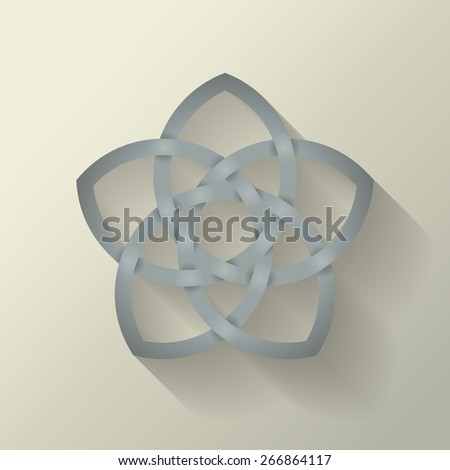 5 point Celtic knot with a long shadow effect. - stock photo
