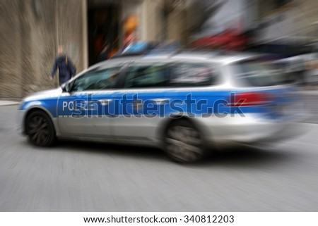 police car during a police operation in the center of Cologne                           - stock photo