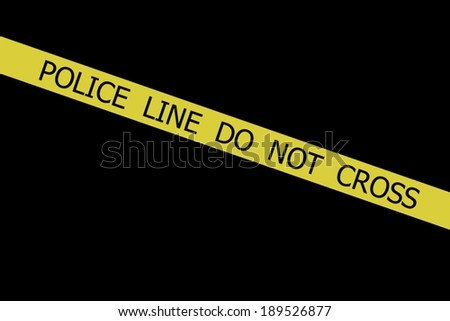 Police tape POLICE LINE DO NOT CROSS on black background - stock photo