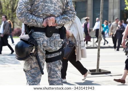 Policeman on duty. Counter-terrorism. - stock photo