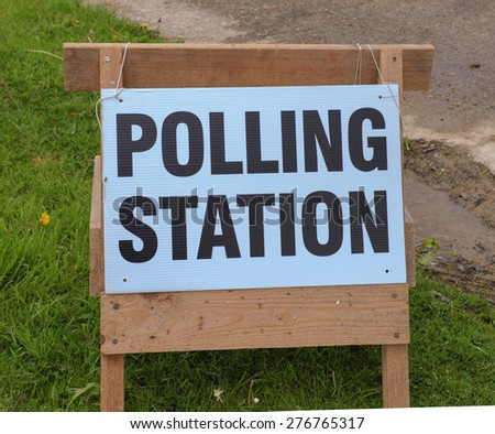 """Polling Station"" sign in Devon, England, UK - stock photo"