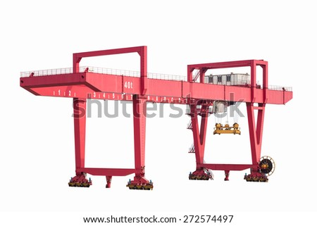 port machinery , rail-mounted gantry container crane isolated on white - stock photo