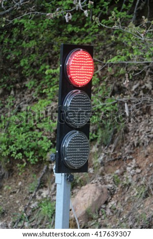 portable and mobile  traffic light - stock photo