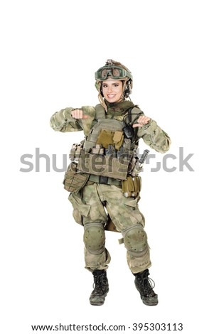 Portrait full length of female soldier indicating herself. war, army, weapon, technology and people concept. Image on a white background. - stock photo