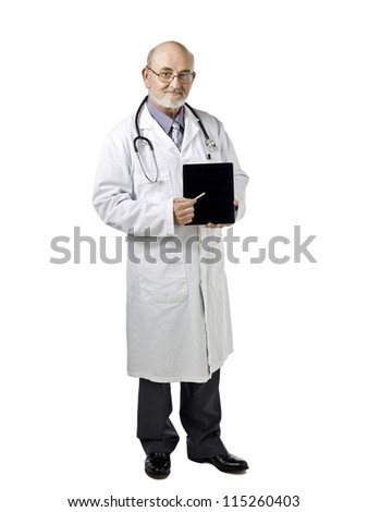 Portrait image of a senior male doctor holding and showing his touch pad tablet against white background - stock photo